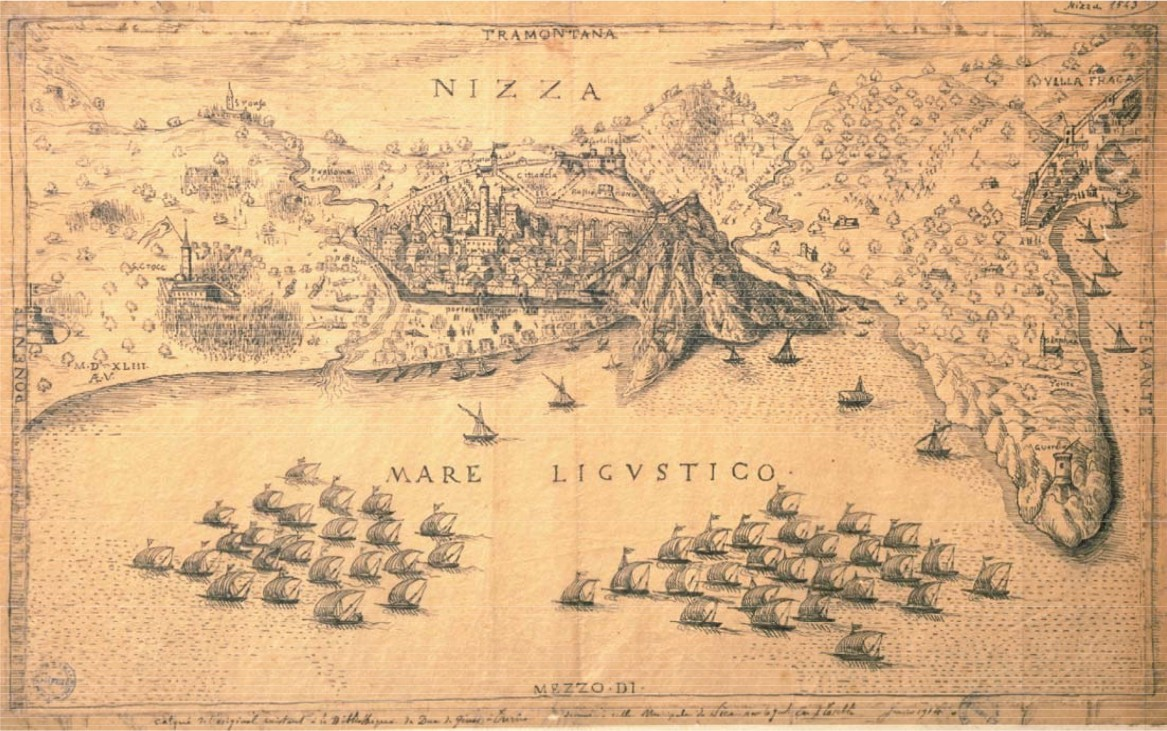 Map of Nice in 1543